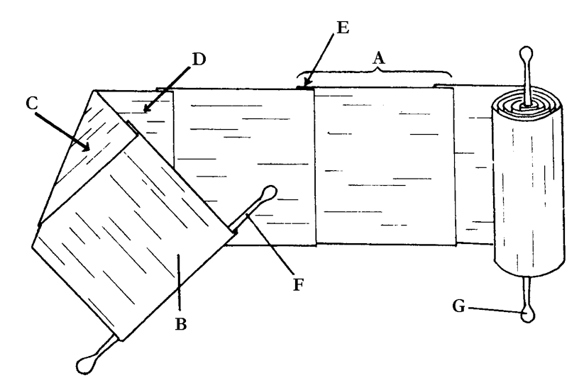 Rollo de papiro: A. Plagulae. B. Protocollo. C. Fibras verticales. D. Fibras horizontales. E. Junta. F y G. Umbilicus