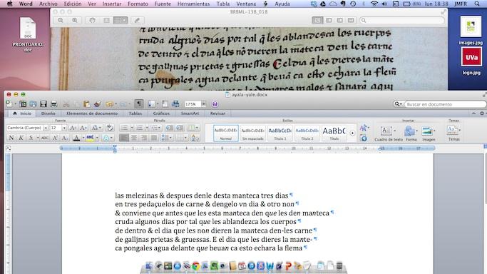Transcribiendo con un procesador de textos