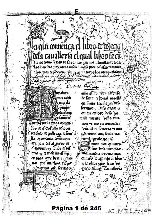 Fol. 1r del ms. &.ii.18 de El Escorial