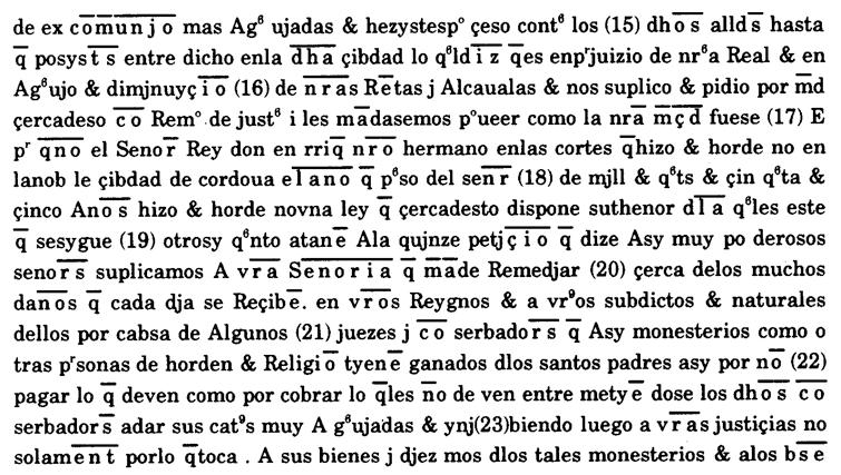 Fragmento de una transcripción paleográfica (Sánchez-Prieto Borja, 1991)