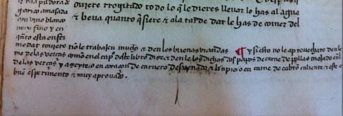 Beinecke Library (Yale), ms. 138, fol. 12v (detalle)Reclamo borrado para incorporar la glosa