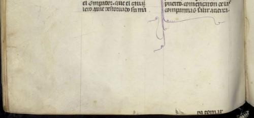 BNE, ms. 1189, fol. 242v (detalle)Debería portar el reclamo, pero o lo ha olvidado o desapareció al encuadernar el códice