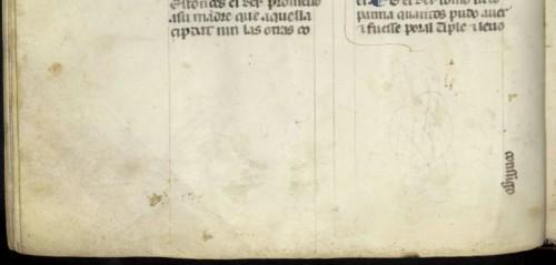 BNE, ms. 1189, fol. 56v (detalle)Reclamo vertical