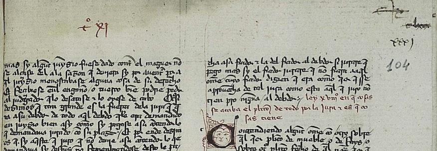 BNE, ms. 12794, fol. 104rVarias foliaciones antiguas desestimadas y moderna a lapicero.
