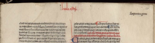 Título corriente con indicación de la partida y del títuloBNE, ms. Vitrina 4-6, fol. 180 (detalle)