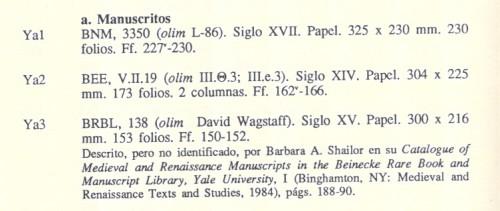 Fragmento de la Bibliotheca cinegetica hispanica (Fradejas Rueda 1991: 58).Tras la signatura actual se indican, entre paréntesis y precedido por olim, las signaturas o propietarios anteriores