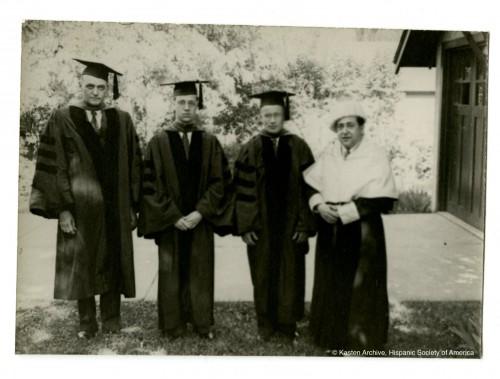 "J. Homer Herriot y Victor R. B. Oelschläger (izqda.), Antonio García Solalinde (dcha.). ""Kasten Archive"", Hispanic Society of America."